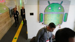 This Android logo is made up of hundreds of pieces of Rubik cubes contributing to the branding effort throughout the office. (Fernando Morales/The Globe and Mail)